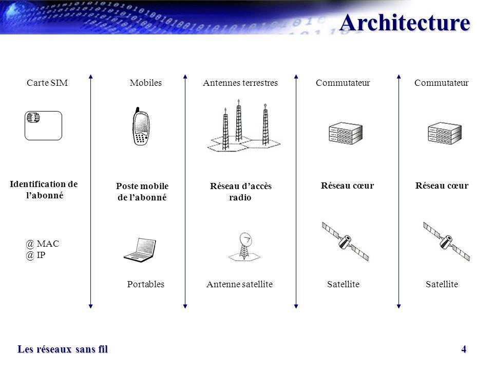 Architecture Carte SIM Mobiles Antennes terrestres Commutateur