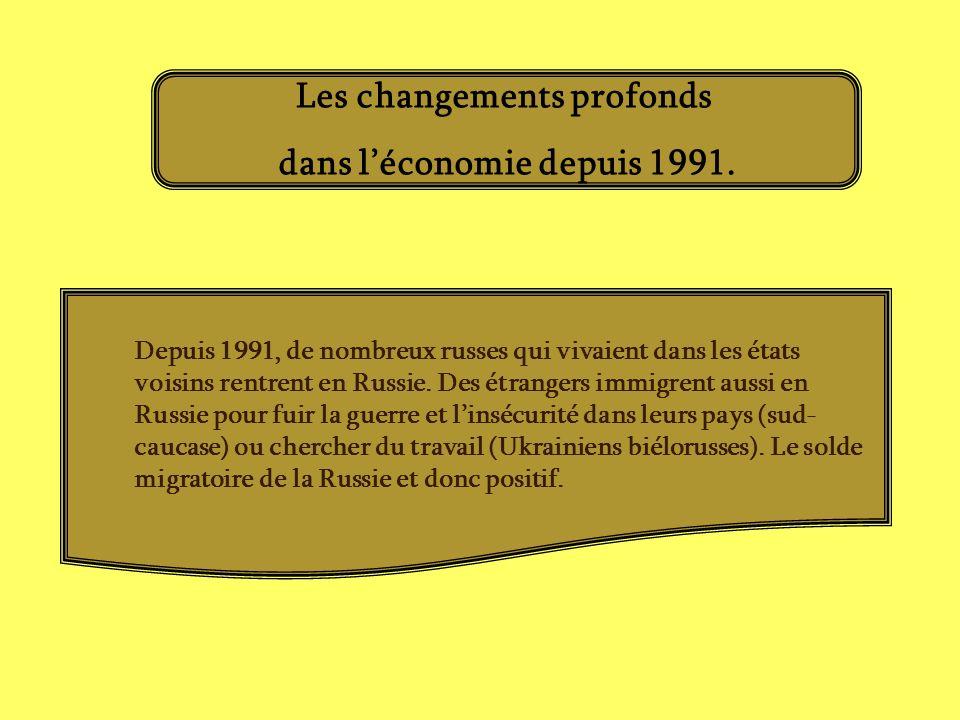 Les changements profonds dans l'économie depuis 1991.