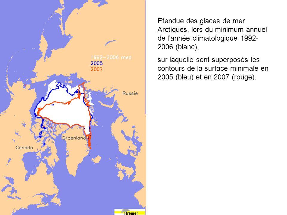 Étendue des glaces de mer Arctiques, lors du minimum annuel de l'année climatologique 1992-2006 (blanc),