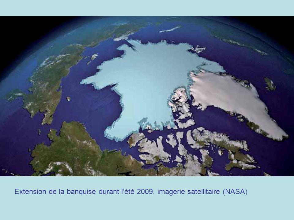 Extension de la banquise durant l'été 2009, imagerie satellitaire (NASA)