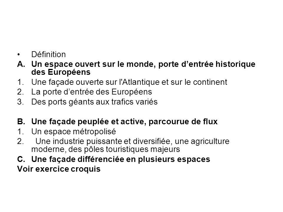 Définition A. Un espace ouvert sur le monde, porte d'entrée historique des Européens. Une façade ouverte sur l Atlantique et sur le continent.