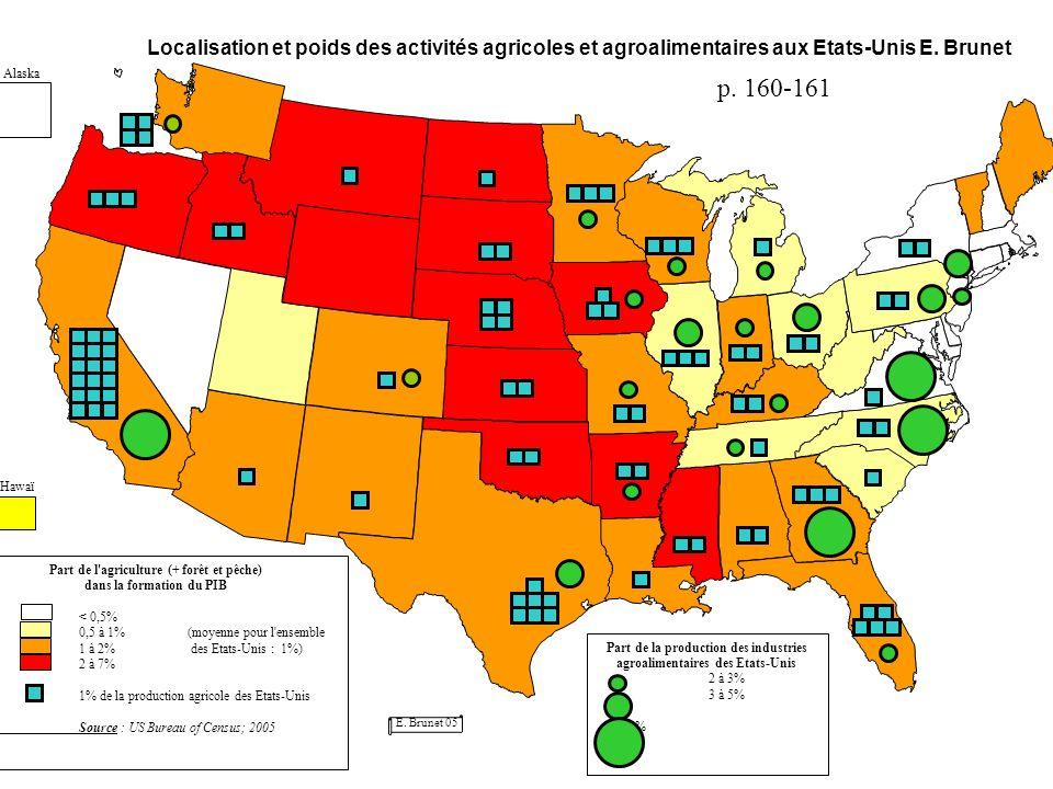 Localisation et poids des activités agricoles et agroalimentaires aux Etats-Unis E. Brunet