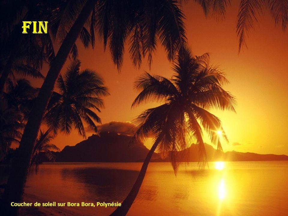 FIN Coucher de soleil sur Bora Bora, Polynésie
