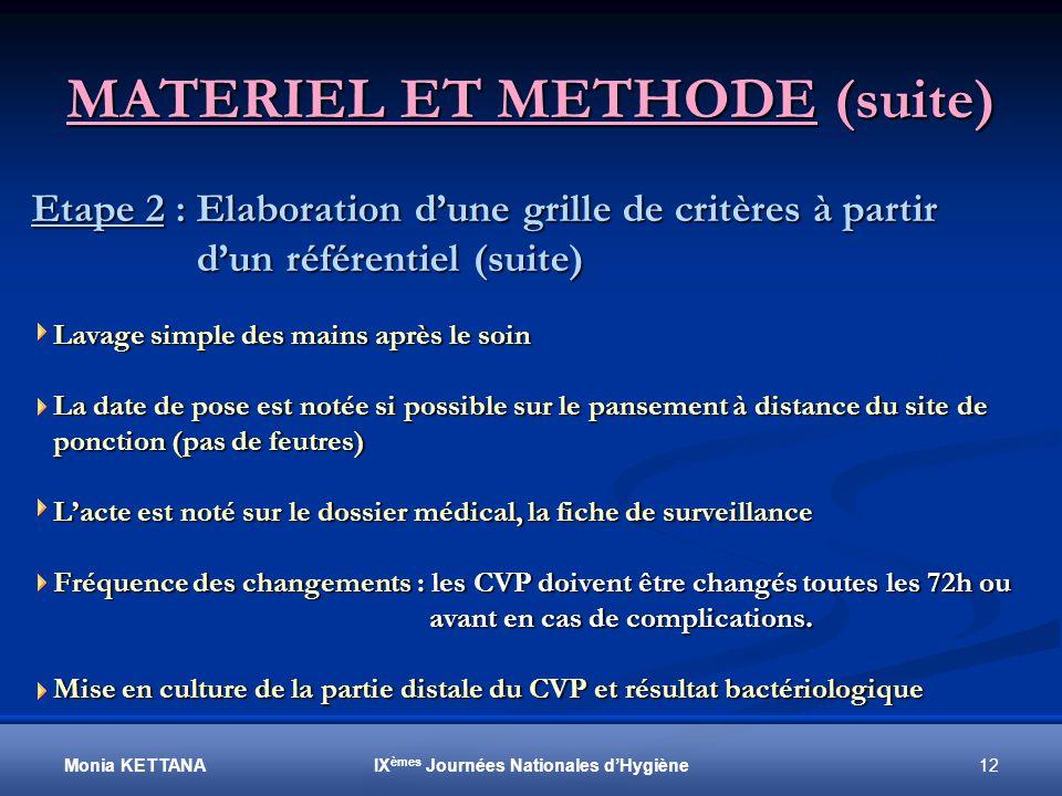 MATERIEL ET METHODE (suite)