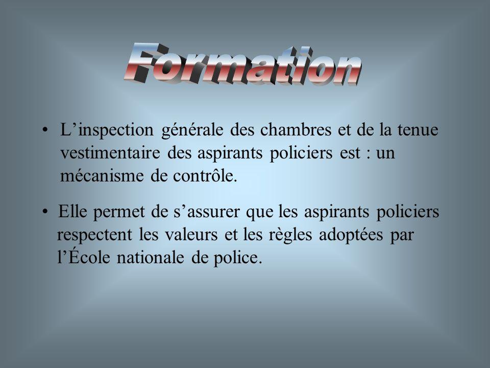 Formation L'inspection générale des chambres et de la tenue vestimentaire des aspirants policiers est : un mécanisme de contrôle.