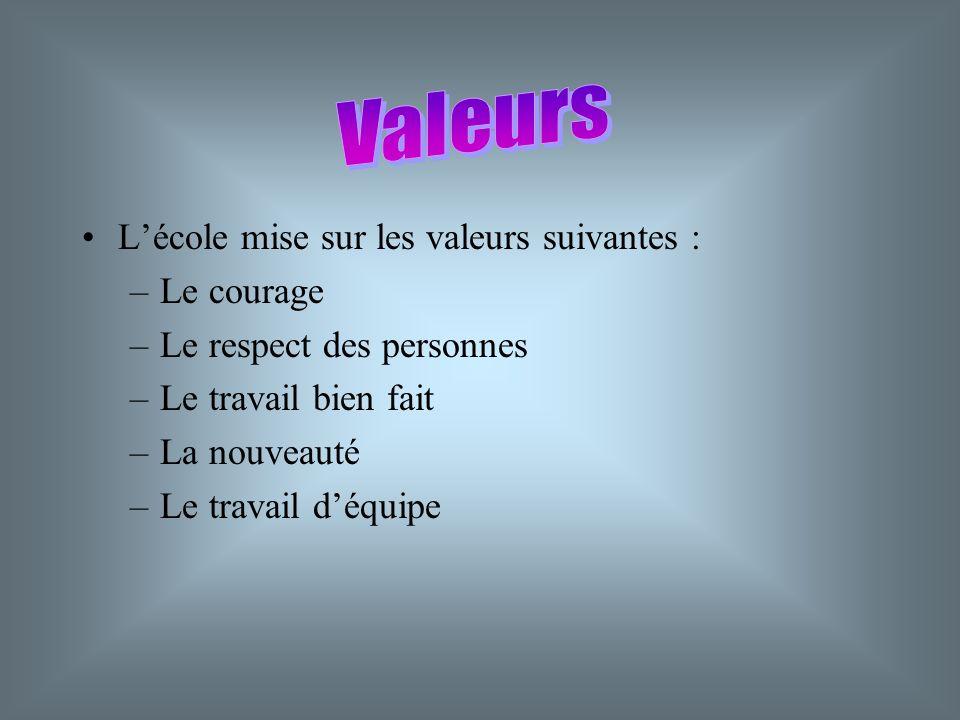 Valeurs L'école mise sur les valeurs suivantes : Le courage