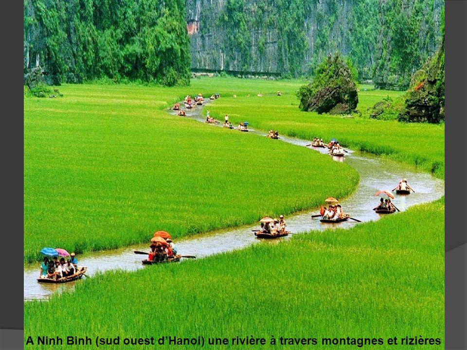 A Ninh Binh (sud ouest d'Hanoi) une rivière à travers montagnes et rizières