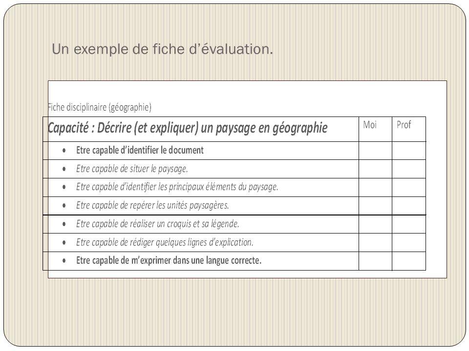 Un exemple de fiche d'évaluation.