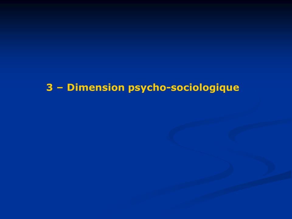 3 – Dimension psycho-sociologique