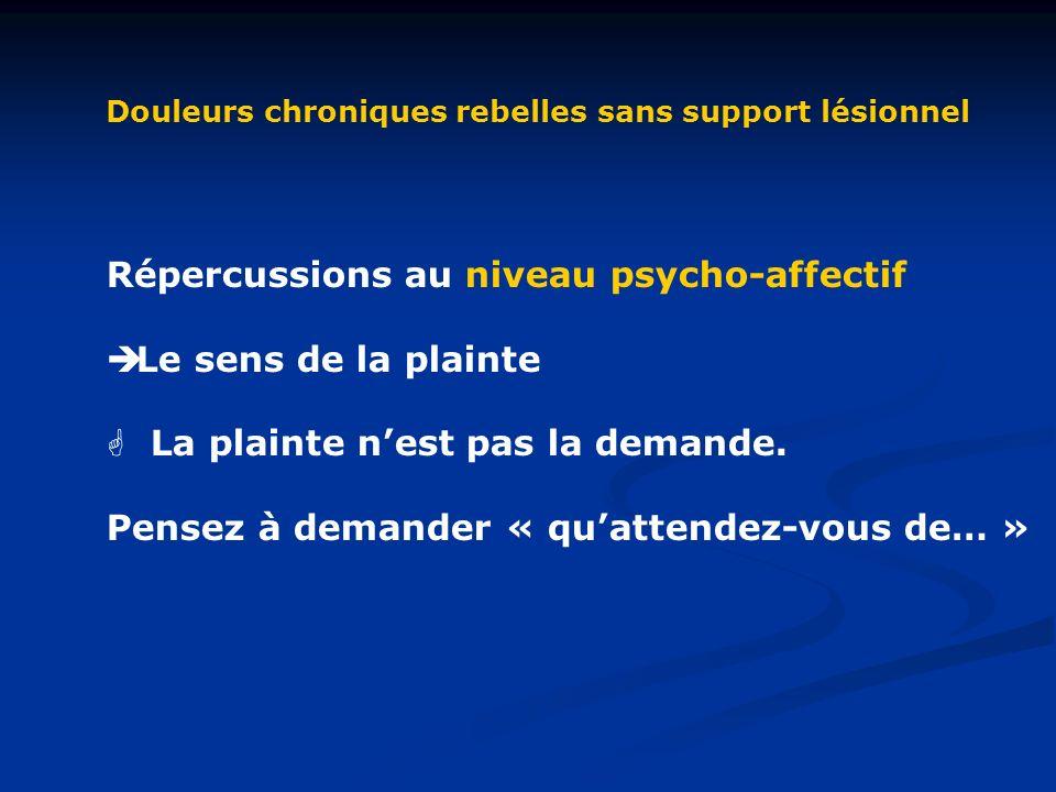 Répercussions au niveau psycho-affectif Le sens de la plainte