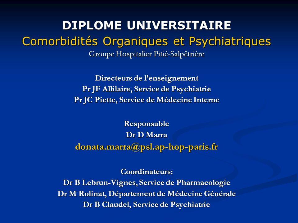 DIPLOME UNIVERSITAIRE Comorbidités Organiques et Psychiatriques