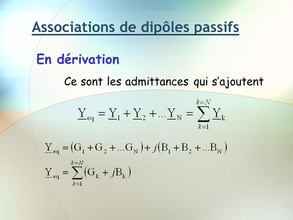 Associations de dipôles passifs