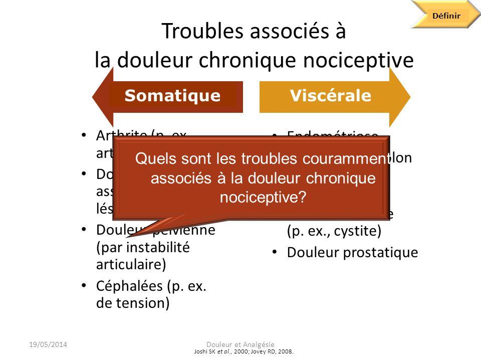 Troubles associés à la douleur chronique nociceptive