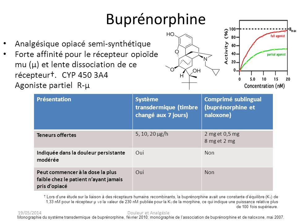 Buprénorphine Analgésique opiacé semi-synthétique