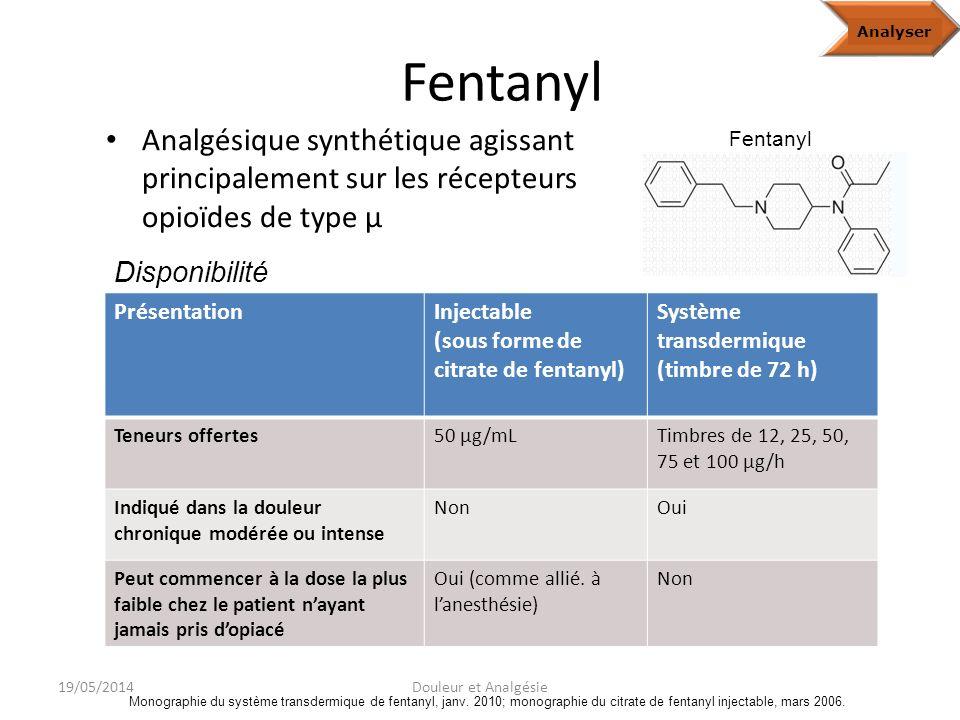 Analyze Fentanyl. Analyser. Analgésique synthétique agissant principalement sur les récepteurs opioïdes de type μ.