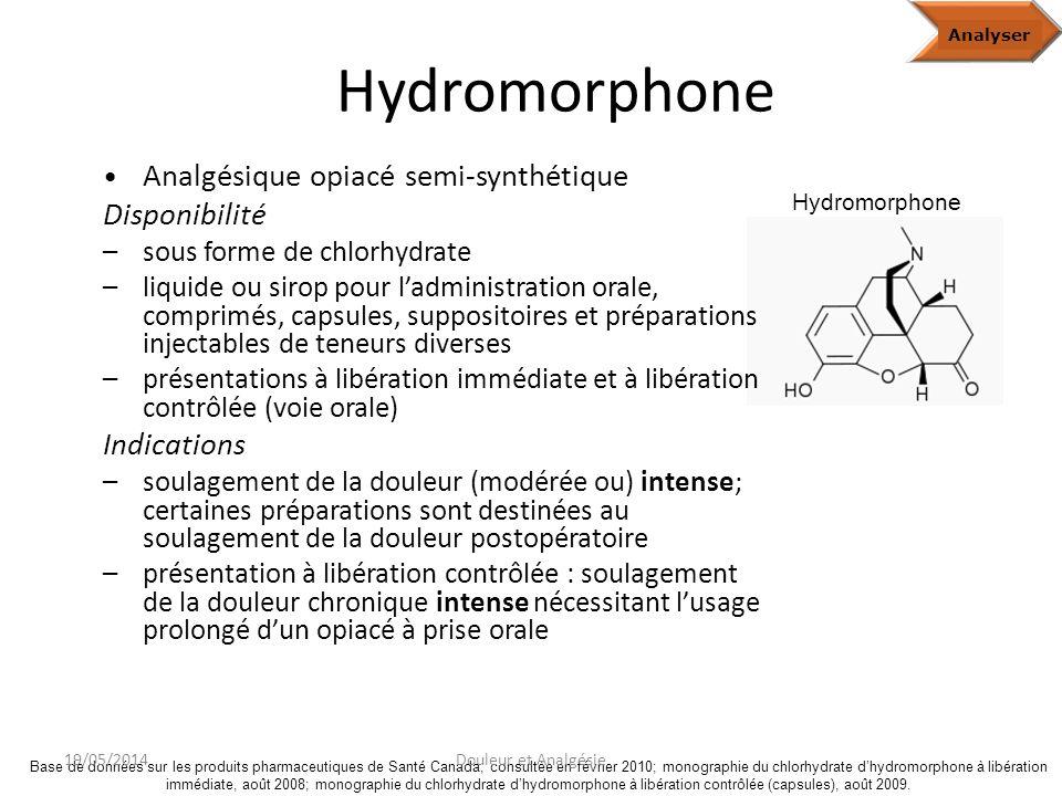 Hydromorphone Disponibilité Indications