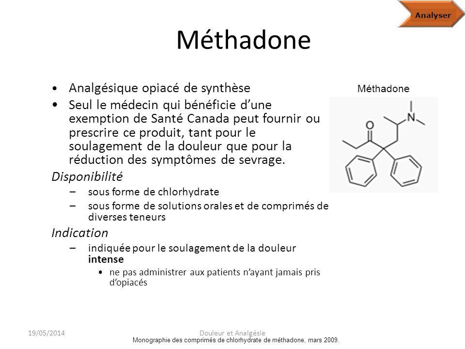 Monographie des comprimés de chlorhydrate de méthadone, mars 2009.