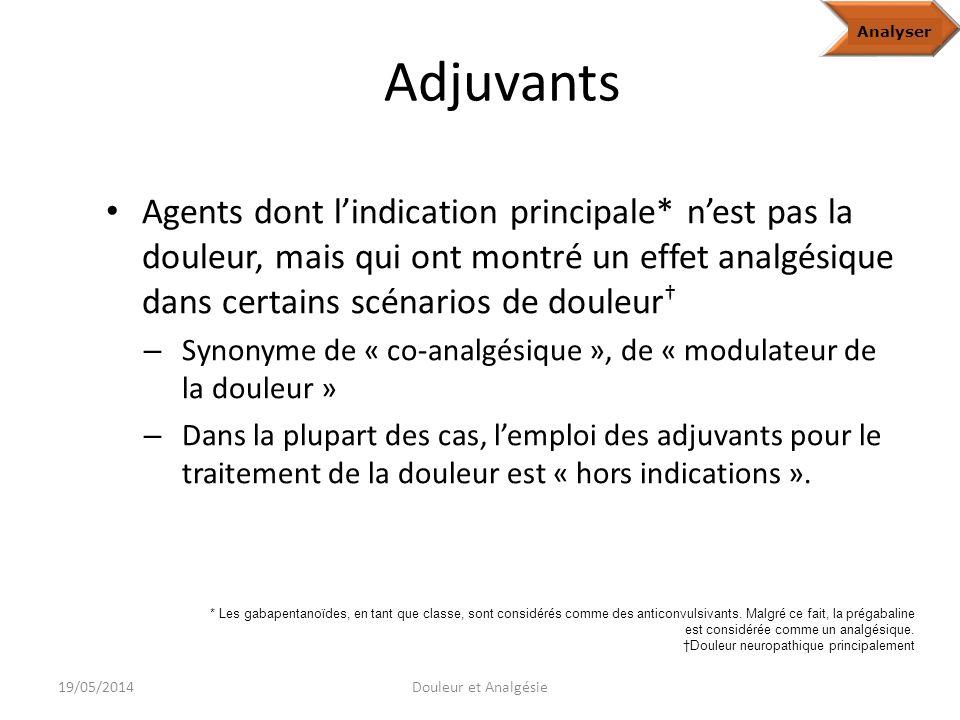 Analyze Adjuvants. Analyser.