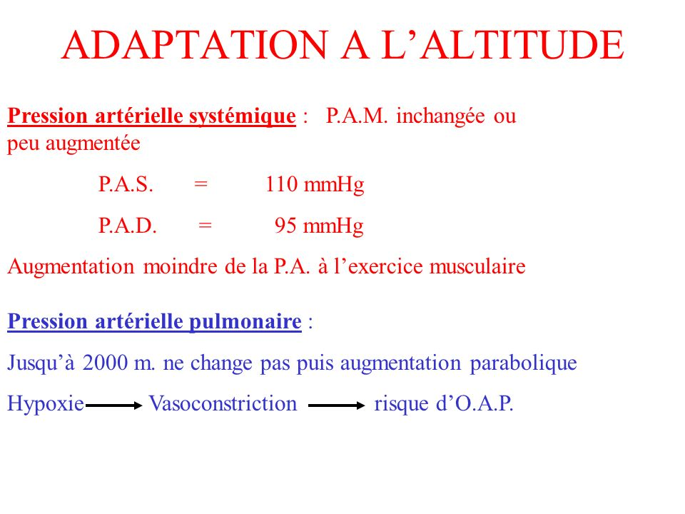 ADAPTATION A L'ALTITUDE