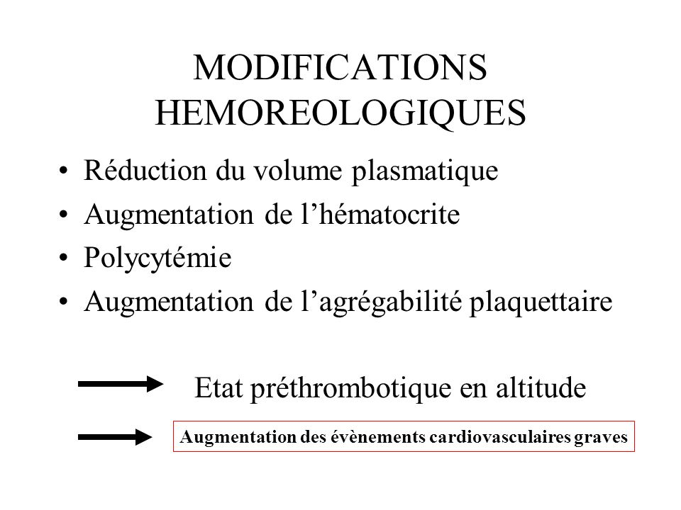 MODIFICATIONS HEMOREOLOGIQUES