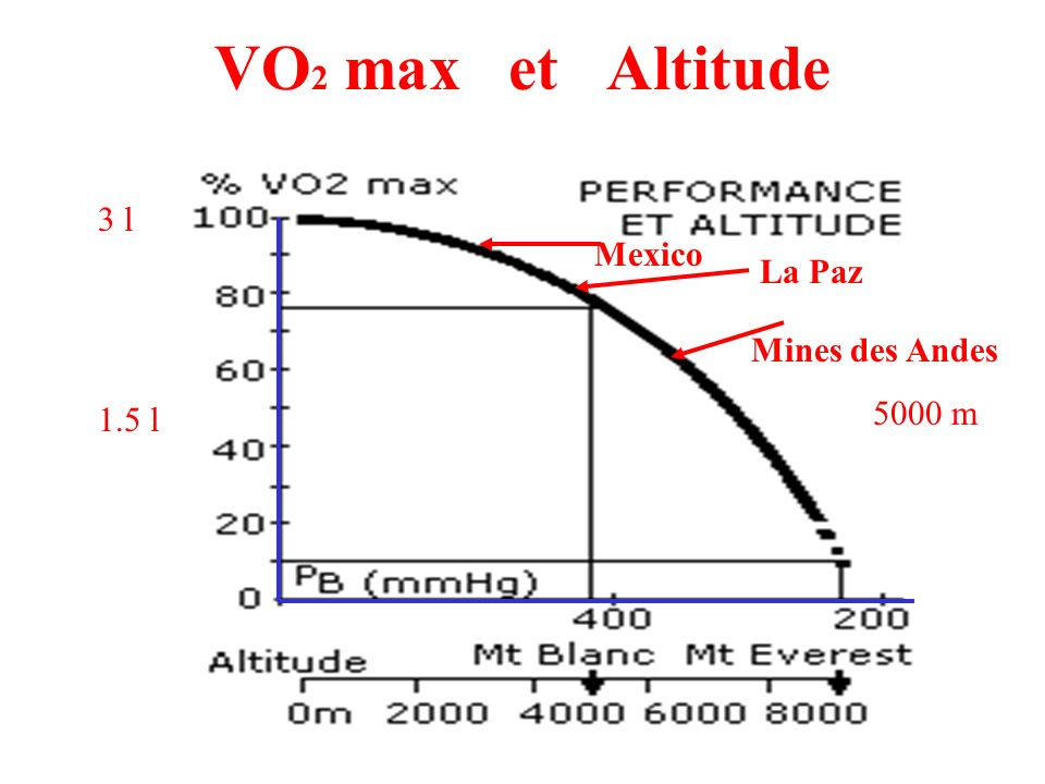 VO2 max et Altitude 3 l Mexico La Paz Mines des Andes 5000 m 1.5 l