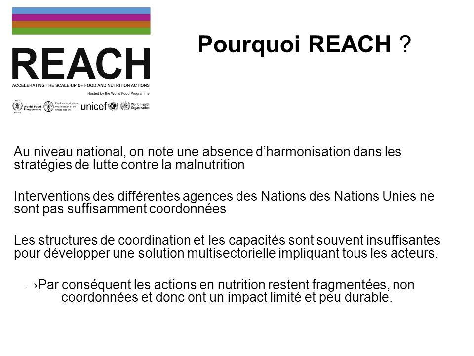 Pourquoi REACH Au niveau national, on note une absence d'harmonisation dans les stratégies de lutte contre la malnutrition.