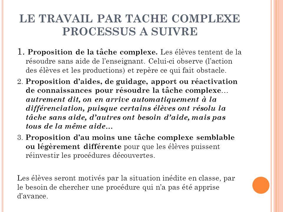 LE TRAVAIL PAR TACHE COMPLEXE PROCESSUS A SUIVRE