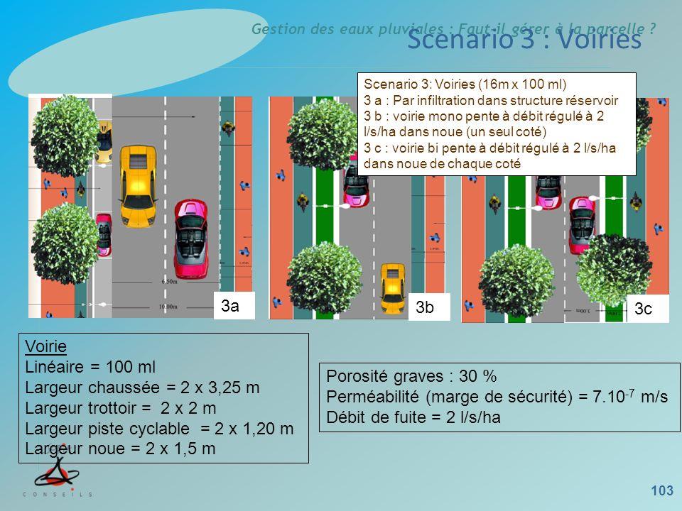 Scenario 3 : Voiries 3a 3b 3c Voirie Linéaire = 100 ml