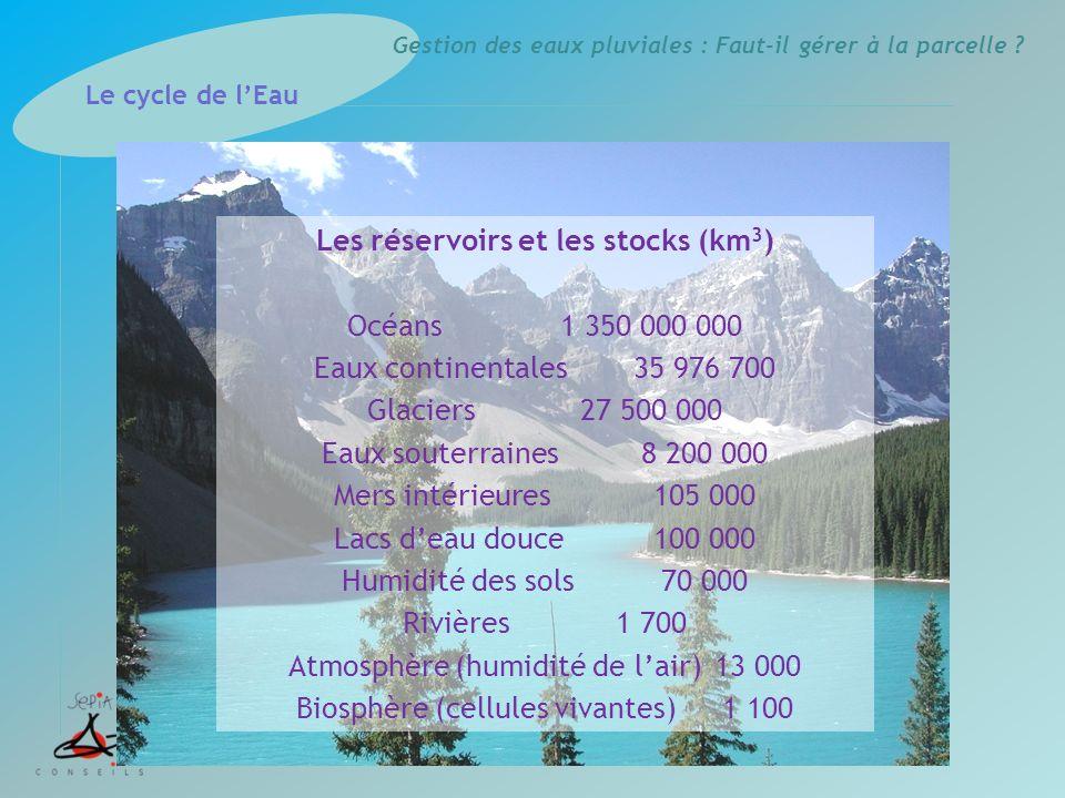 Les réservoirs et les stocks (km3)