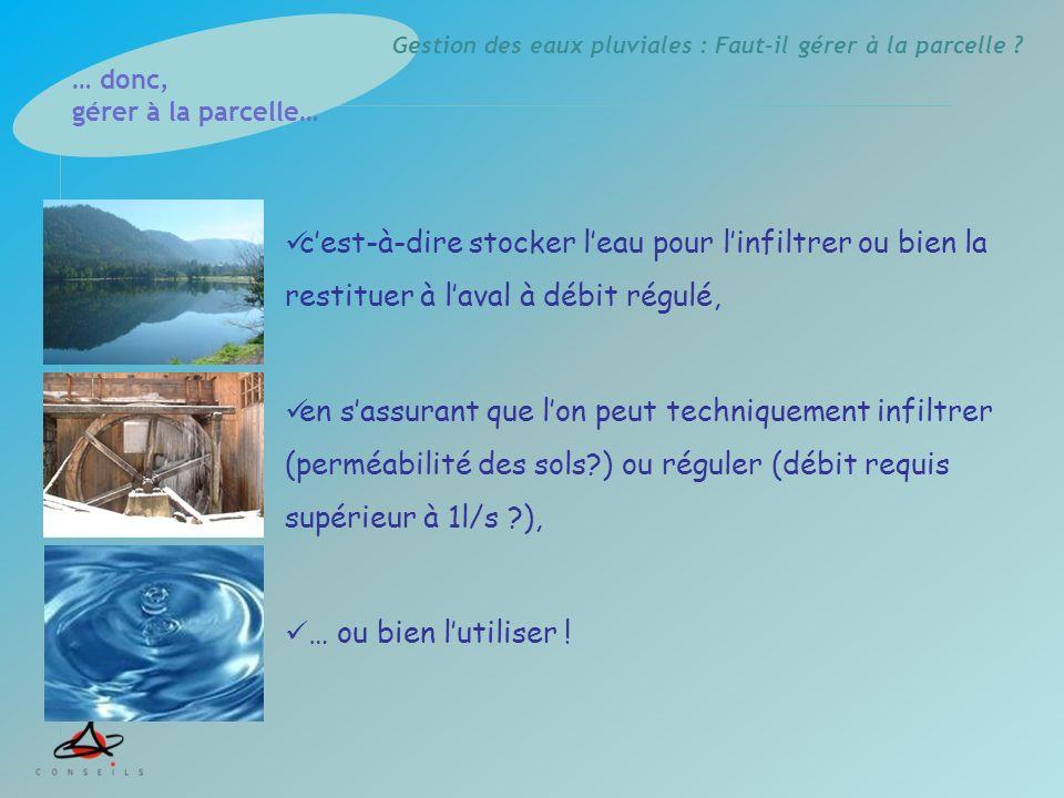Formation EUROPE & ENVIRONNEMENT 26 juin 2009 Faut-il gérer les eaux pluviales à la parcelle