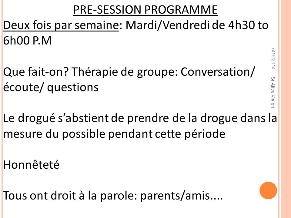PRE-SESSION PROGRAMME