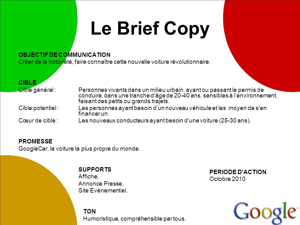 Le Brief Copy OBJECTIF DE COMMUNICATION