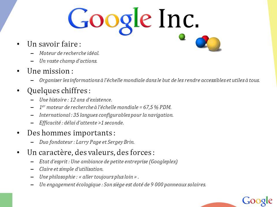 Google Inc. Un savoir faire : Une mission : Quelques chiffres :