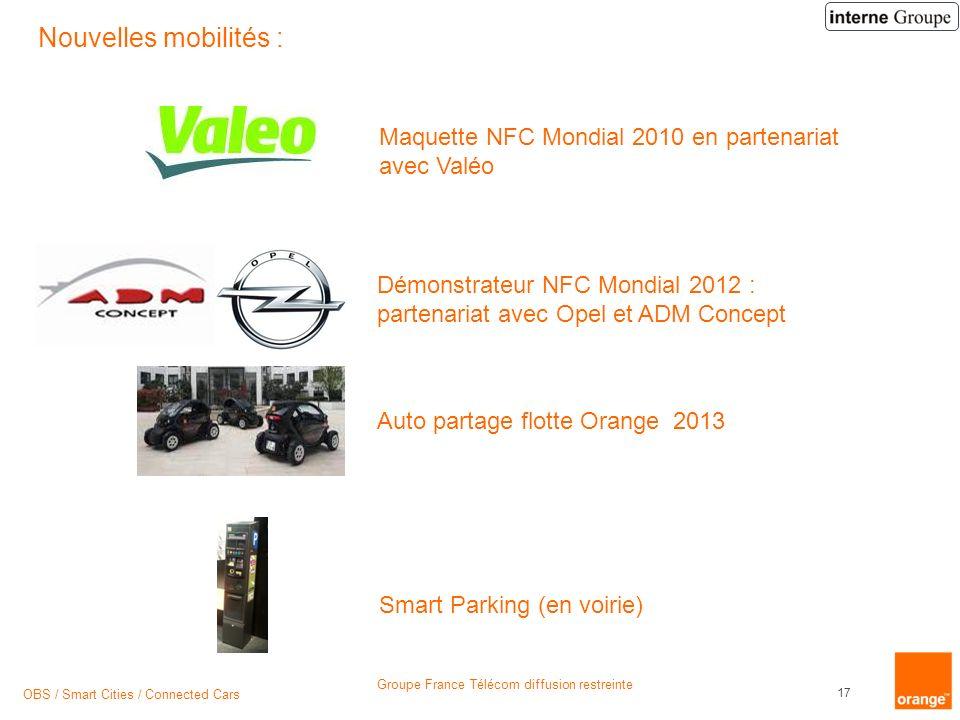 Nouvelles mobilités : Maquette NFC Mondial 2010 en partenariat avec Valéo. Démonstrateur NFC Mondial 2012 : partenariat avec Opel et ADM Concept.