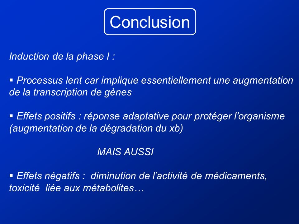 Conclusion Induction de la phase I :