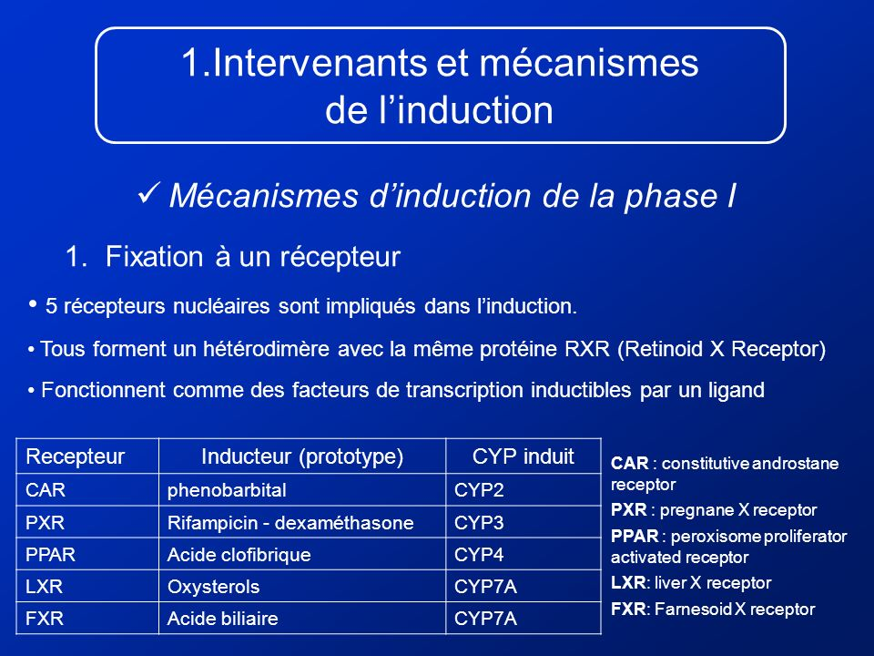 Intervenants et mécanismes de l'induction