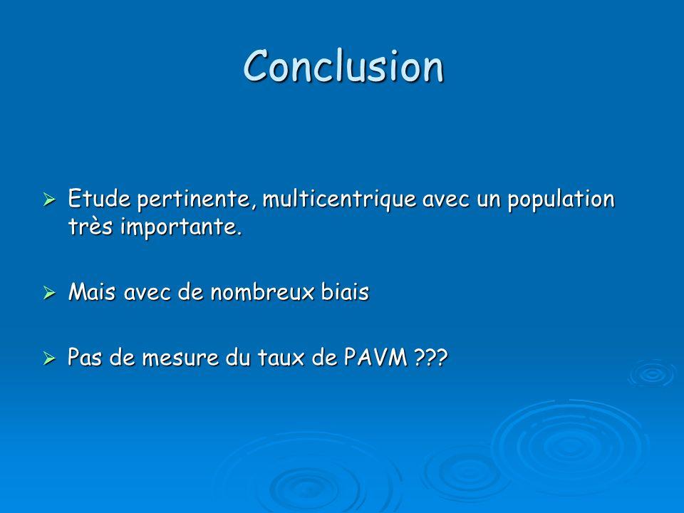 Conclusion Etude pertinente, multicentrique avec un population très importante. Mais avec de nombreux biais.
