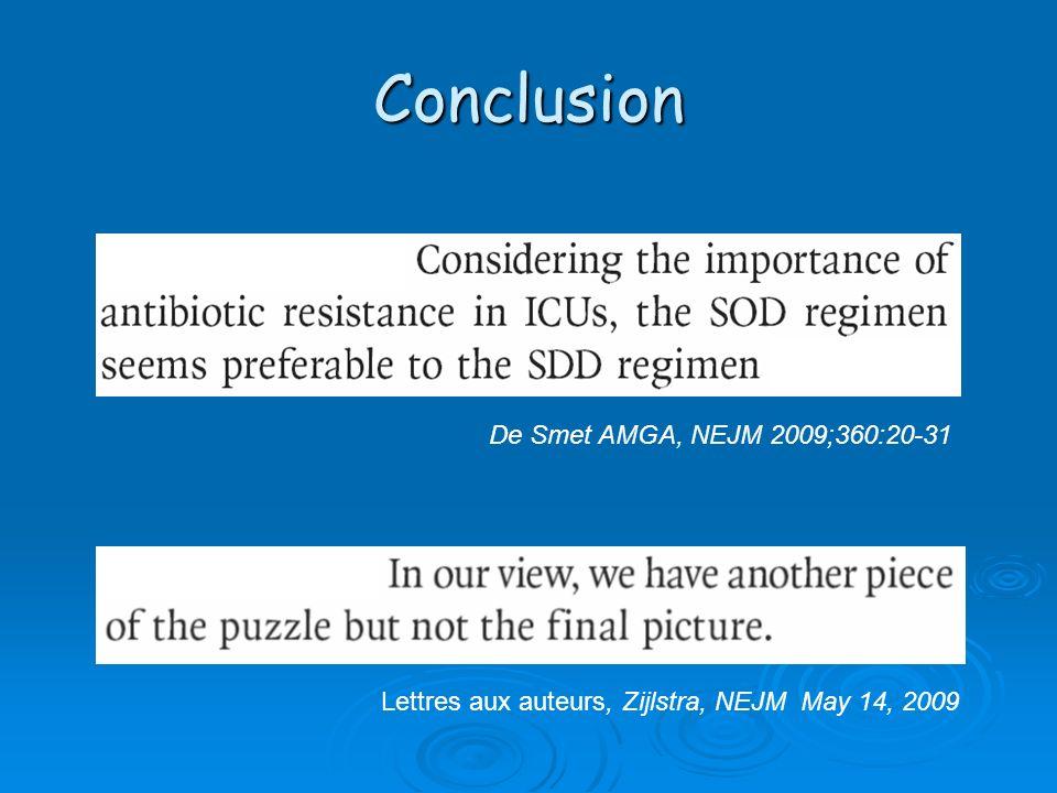 Conclusion De Smet AMGA, NEJM 2009;360:20-31