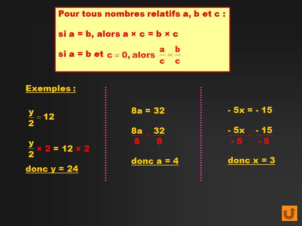 Pour tous nombres relatifs a, b et c :