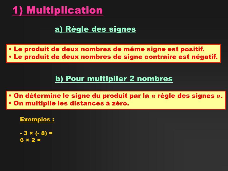 1) Multiplication a) Règle des signes b) Pour multiplier 2 nombres