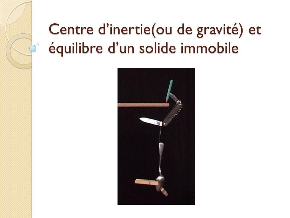 Centre d'inertie(ou de gravité) et équilibre d'un solide immobile