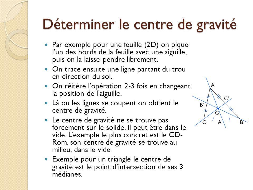 Déterminer le centre de gravité
