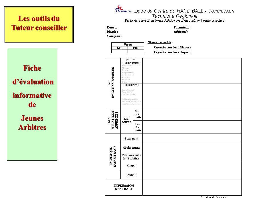 Les outils du Tuteur conseiller Fiche d'évaluation informative de Jeunes Arbitres