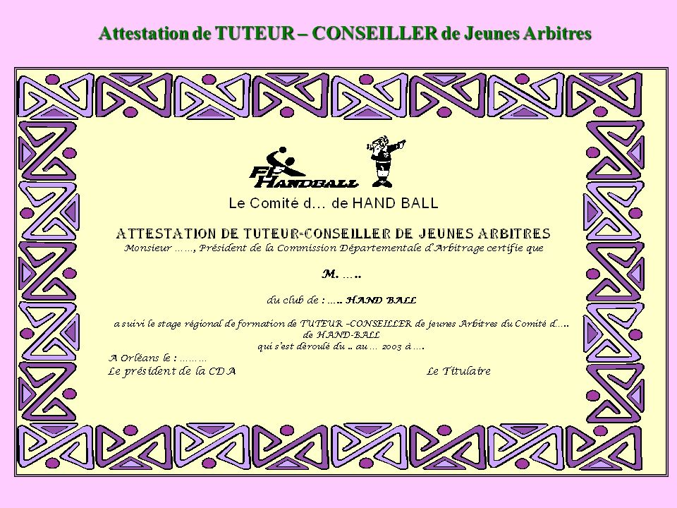 Attestation de TUTEUR – CONSEILLER de Jeunes Arbitres