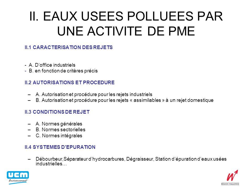 II. EAUX USEES POLLUEES PAR UNE ACTIVITE DE PME