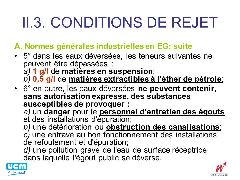 II.3. CONDITIONS DE REJET A. Normes générales industrielles en EG: suite.
