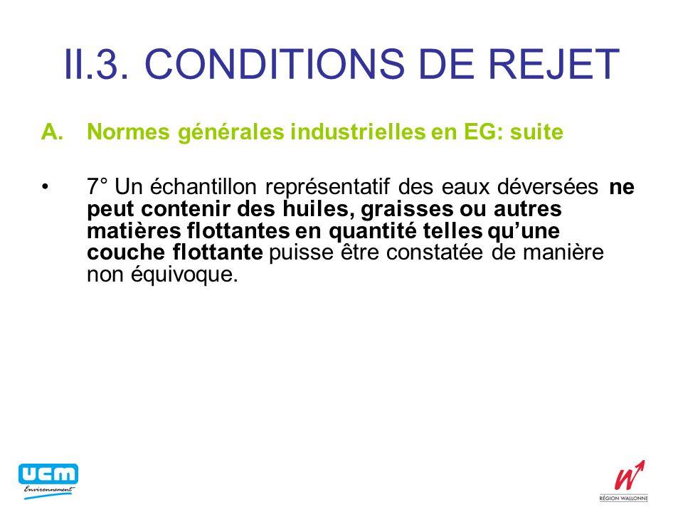 II.3. CONDITIONS DE REJET Normes générales industrielles en EG: suite