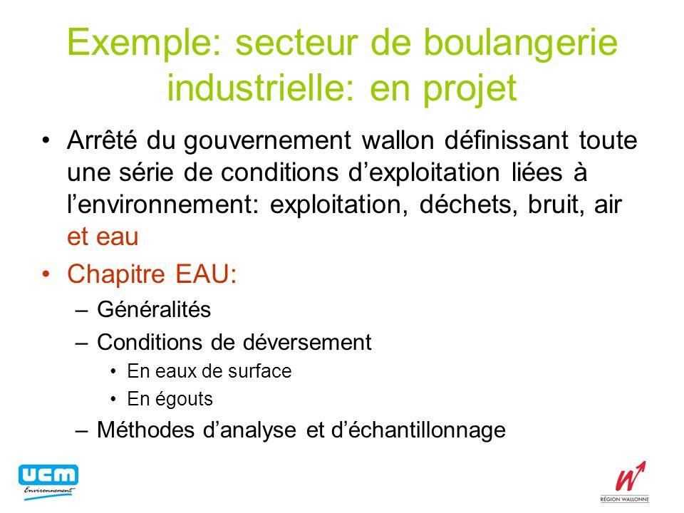 Exemple: secteur de boulangerie industrielle: en projet