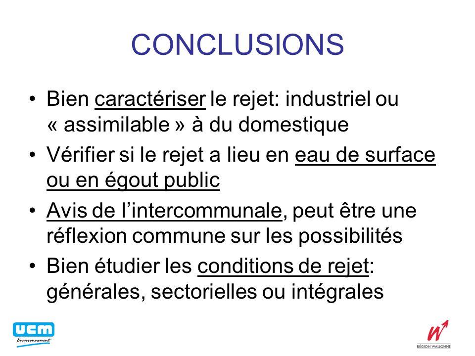 CONCLUSIONS Bien caractériser le rejet: industriel ou « assimilable » à du domestique.