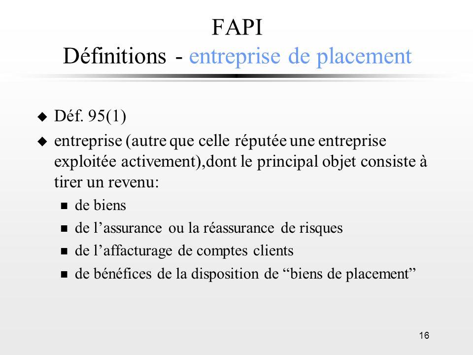 FAPI Définitions - entreprise de placement